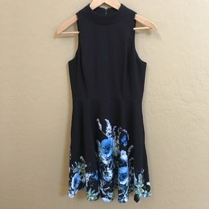 Tahari Black Flower Patterned Dress